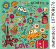 Vector set of Paris symbols. Vector seamless pattern - stock vector