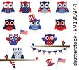 Vector Set of Patriotic Owls - stock vector