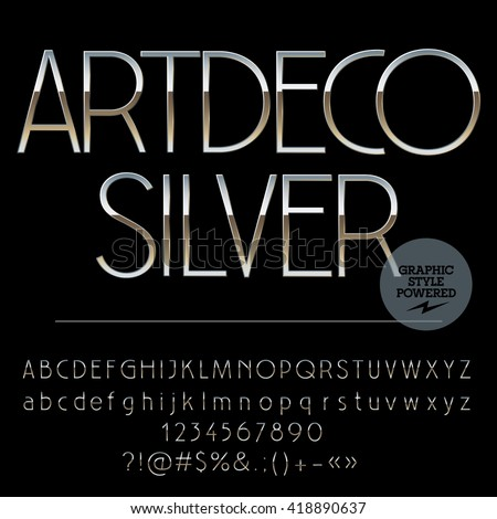 vector set of perfect silver alphabet letters numbers and punctuation symbols art deco slim