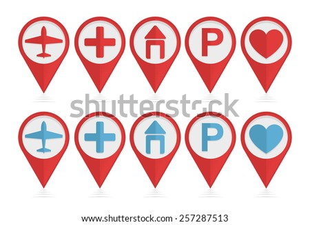 Vector set of pointers with airplane, hotel, parking, health icons