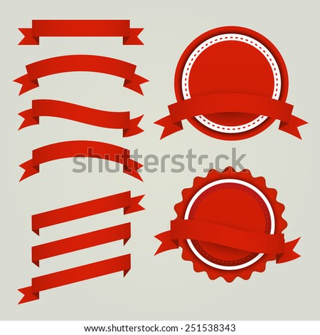 Vector Set of red paper ribbons, labels and badges
