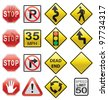 vector set of road signs - stock photo