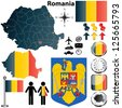 Vector set of Romania country shape with flags, buttons and icons isolated on white background - stock photo