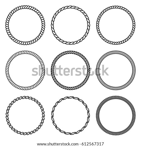 Vector Set Round Rope Frame Collection Stock Vector 626295113 ...
