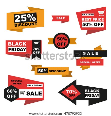 Vector set of sale and  black friday labels on white background. Discount stickers.