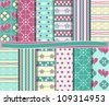 vector set of scrapbook paper - stock vector
