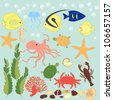 Vector set of sea animals on blue card background - stock photo