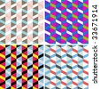 Vector set of seamless check patterns. - stock vector