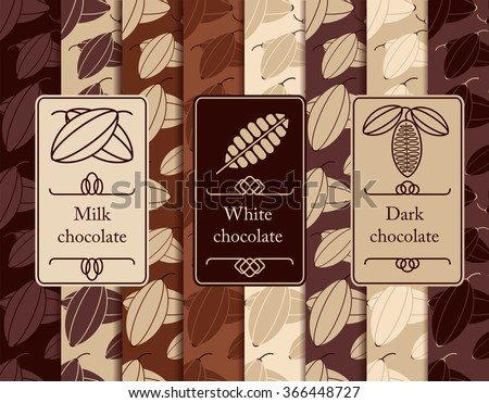Vector set of seamless pattern and labels for chocolate and cocoa packaging.