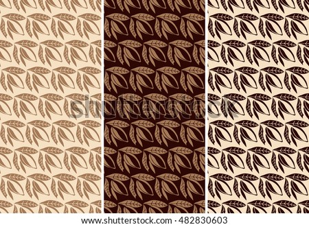 Vector set of seamless pattern for chocolate and cocoa packaging.
