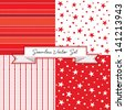 Vector set of 4 seamless red background patterns. Use for Christmas, Valentine's Day, Greeting Cards, Scrapbook, Surface Textures. See my portfolio for alternate color versions and JPEG versions.   - stock photo