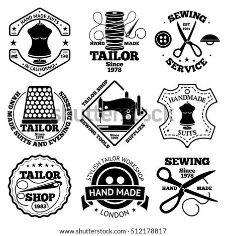 Vector set of sewing and tailor shops labels with sewing machine, thimble, scissors, needle, etc.