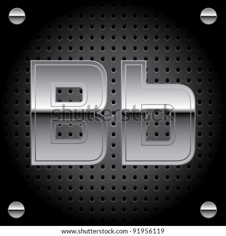 Vector set of silver metal font on metallic perforated background - letter B