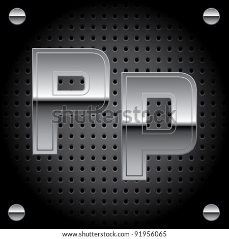 Vector set of silver metal font on metallic perforated background - letter P