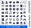 Vector set of simple social network icons. - stock vector