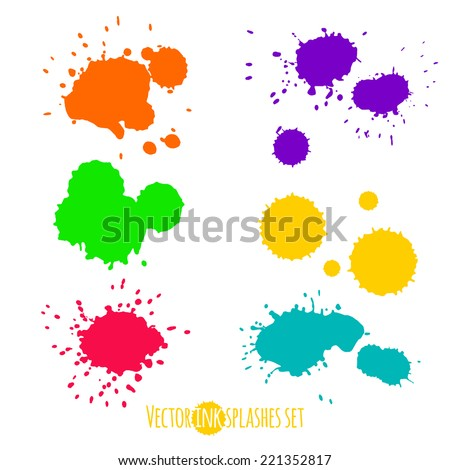 Vector set of six ink colorful splashes in pink, yellow, orange, green, blue and violet colors
