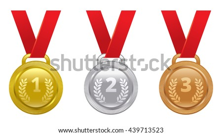 Vector set of sports awards gold, silver and bronze medals