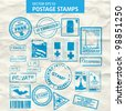 Vector set of stamps and postmarks. All vector objects are isolated. Colors and transparent background color are easy to adjust. - stock vector