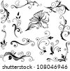 Vector set of swirling decorative floral elements ornament for design - stock vector
