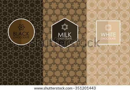Vector set of templates packaging, label, banner, poster, identity, branding, logo icon, seamless pattern in trendy linear style for chocolate and cocoa package -white, milk and dark chocolate