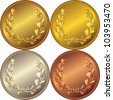 vector set of the gold, silver and bronze medals with the image of a laurel wreath - stock vector
