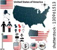 Vector set of USA country shape with flags and icons on white background - stock vector