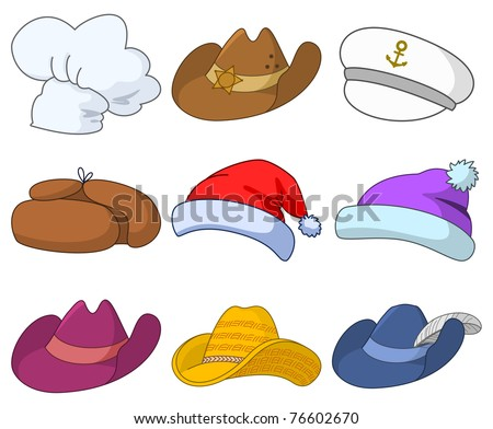Vector, set of various hats: Santa Claus, cook, sheriff, musketeer, captain and others