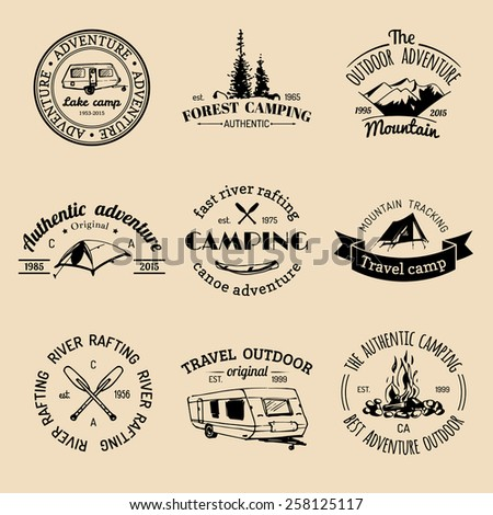 Vector Set Of Vintage Camping Logos Retro Signs Collection Outdoor Adventures Tourist Sketches