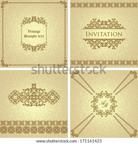 Vector set of vintage cards. Seamless vintage background in pastel colors. Luxury design