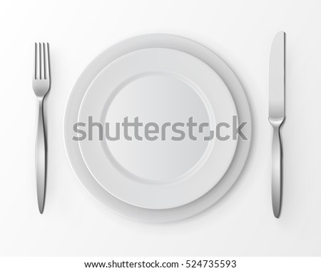 Vector set of White Empty Flat Round Plates with Fork and Knife Top View Isolated on White Background. Table Setting