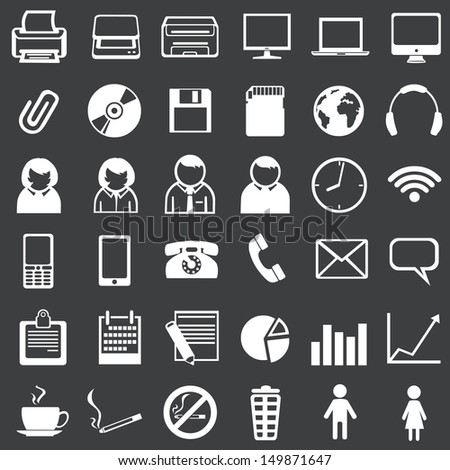 Vector set of 36 white office icons