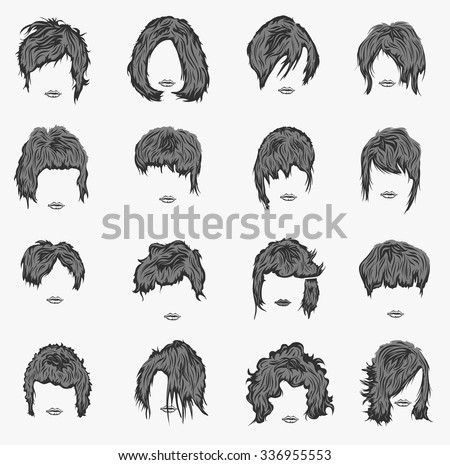 Hair Styles Sketch Vector Set 581770 in addition Girl character as well Women Hairstyle Wigs False Natural Hair 535892143 besides Easy Animal Drawings likewise Search Vectors. on haircuts front and back view