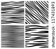 Vector set of zebra textures. - stock vector