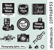 Vector Set: Photography and Camera Labels and Stickers with Silhouette Elements - stock vector
