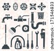 Vector Set: Plumbing Service Objects and Tools - stock vector