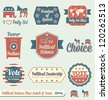 Vector Set: Political Science Class Labels and Icons - stock photo