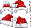 Vector set red Christmas Santa Claus hats isolated on white background - stock vector