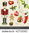 vector set: traditional christmas - assorted classical holiday items - stock vector