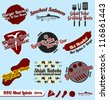Vector Set: Vintage BBQ Labels and Icons - stock vector