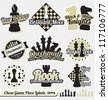 Vector Set: Vintage Chess Pieces Labels and Icons - stock photo