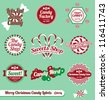 Vector Set: Vintage Christmas Candy Labels and Icons - stock vector