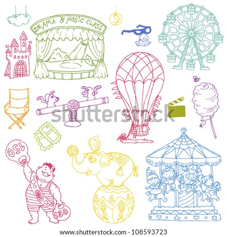 Vector set: Vintage Circus Elements - hand drawn doodles - for scrapbooking and design