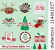 Vector Set: Vintage Merry Christmas Labels and Stickers - stock vector