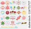 Vector Set: Vintage Mixed Candy Labels and Icons - stock vector