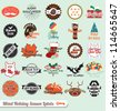 Vector Set: Vintage Mixed Holiday Season Labels - stock photo