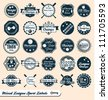 Vector Set: Vintage Mixed League Sport Labels and Badges - stock vector