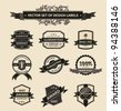 Vector set vintage ornate decor elements. ornaments ribbon black labels. illustration - stock vector