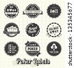 Vector Set: Vintage Poker Labels and Icons - stock photo