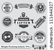 Vector Set: Vintage Weight Lifting Labels and Stickers - stock vector