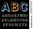 Vector set with colorful hand written ABC letters - stock photo